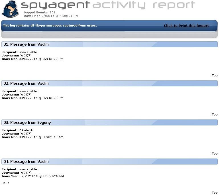 Spyagent activity reports
