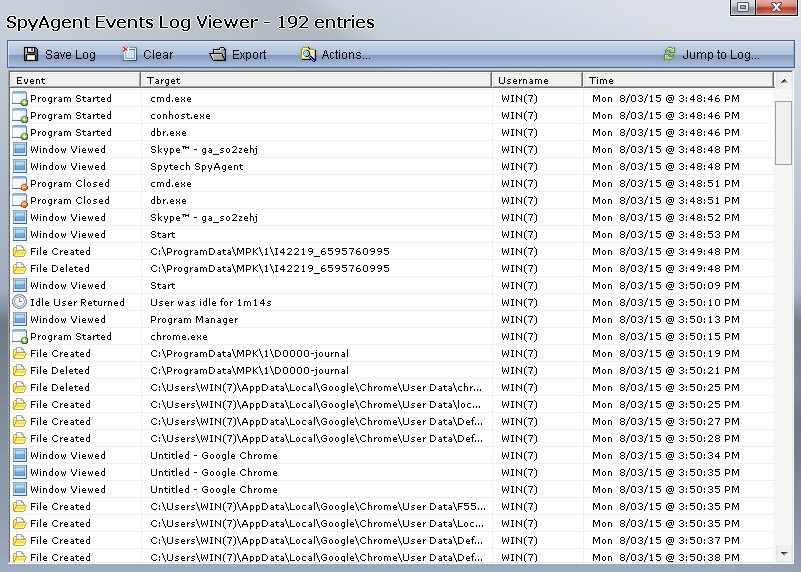 SpyAgent events log viewer