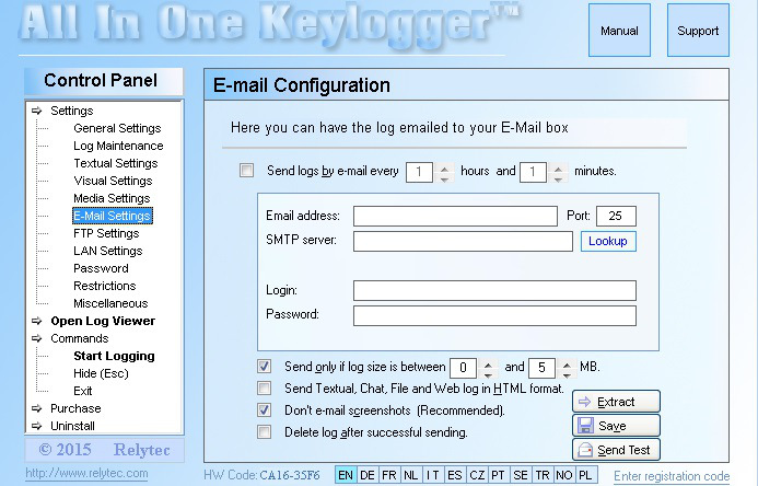 All in one keylogger log file transfer
